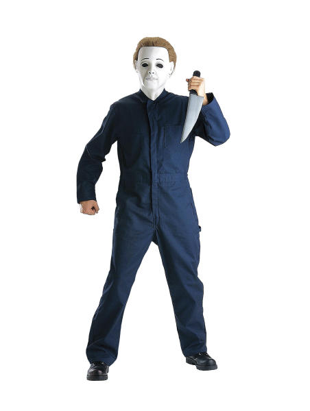 """This undated product image released by Part City shows a boys costume depicting the horror figure Michael Myers from the """"Halloween"""" film franchise. Halloween costumes for young children are getting more grisly. Even costumes that were once benign now have violent twists: The sweet, simple """"sock monkey"""" is now a bloody zombie sock monkey with razor-sharp teeth, sold in sizes small enough for kindergartners. (AP Photo/Party City)"""
