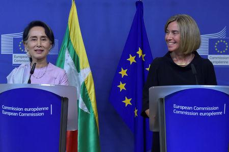 European Union foreign policy chief Federica Mogherini gives a news conference with Myanmar State Counsellor Aung San Suu Kyi in Brussels, Belgium May 2, 2017. REUTERS/Eric Vidal