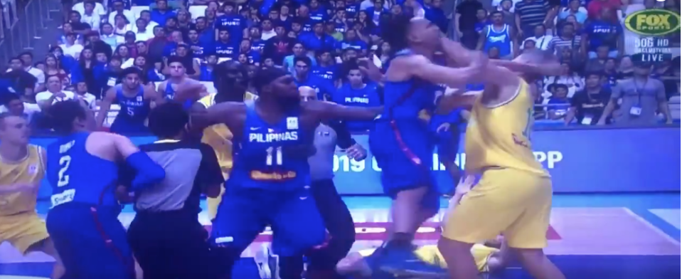 """The brawl between the Philippines and Australia resulted in 13 ejections. Credit: <a class=""""link rapid-noclick-resp"""" href=""""/ncaab/players/121832/"""" data-ylk=""""slk:Steve Smith"""">Steve Smith</a> (@stevesmithffx) on Twitter"""