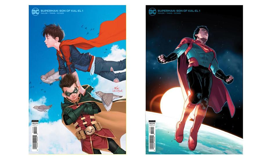 Another pair of variant covers for Superman: Son of Kal-El show him as Superboy with Robin in tow, as well as his teenage incarnation.
