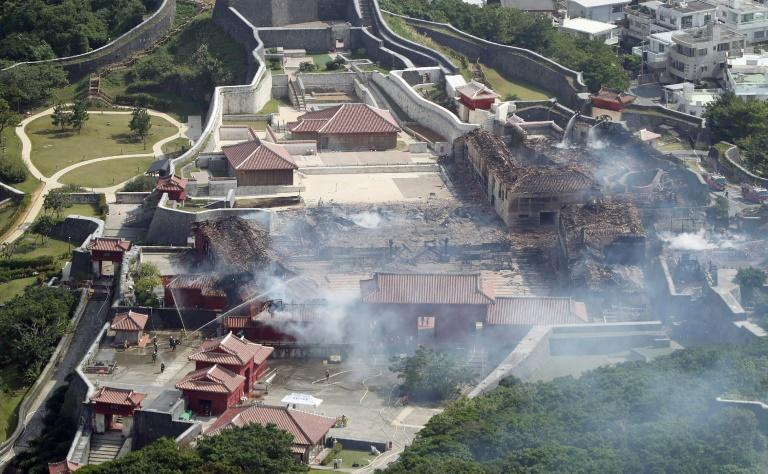Shuri Castle after a fire ripped through the historic site in Naha, Okinawa, Japan (AFP Photo/)