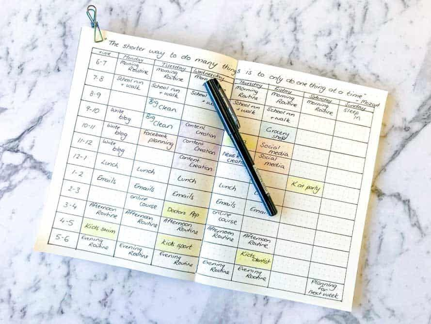 """<p>If you struggle with your to-do list (who doesn't?) try this <a href=""""https://diaryofajournalplanner.com/how-to-be-productive/"""" rel=""""nofollow noopener"""" target=""""_blank"""" data-ylk=""""slk:easy bullet journal idea"""" class=""""link rapid-noclick-resp"""">easy bullet journal idea</a> from Diary of a Journal Planner. Rather than trying and failing to multitask, your bujo can help block out spans of time to focus on one task. You'll be amazed how much you get done. </p>"""