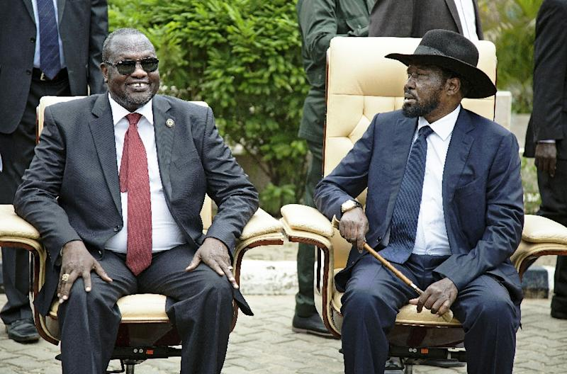 A brutal war -- which broke out in December 2013 when South Sudan President Salva Kiir (R) accused his former deputy Riek Machar of plotting a coup -- has claimed tens of thousands of lives and forced many times that number to flee their homes (AFP Photo/Albert Gonzalez Farran)