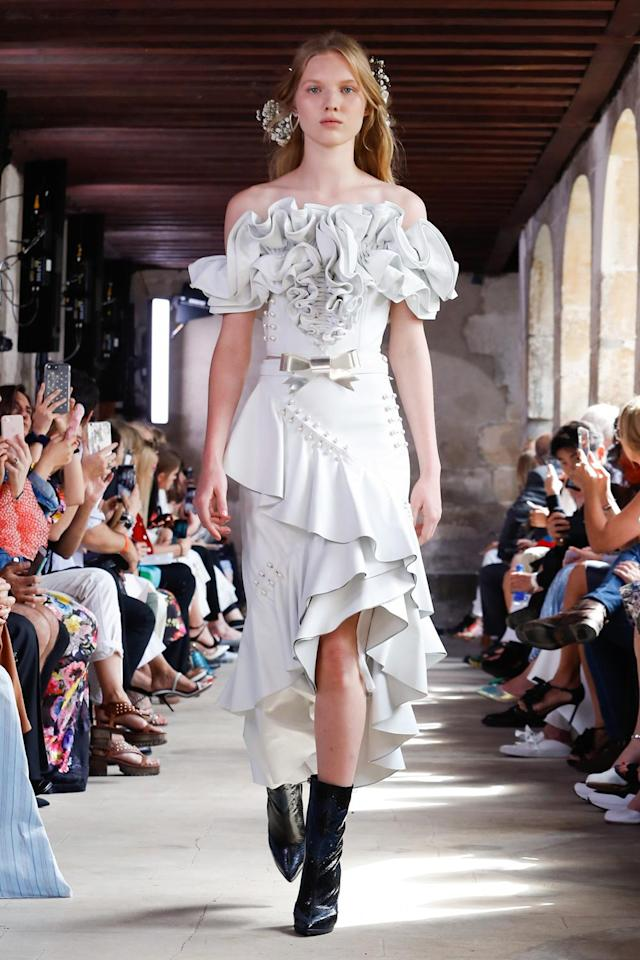 <p><i>Strapless ruffled gown from the SS18 Rodarte collection. (Photo: ImaxTree) </i></p>