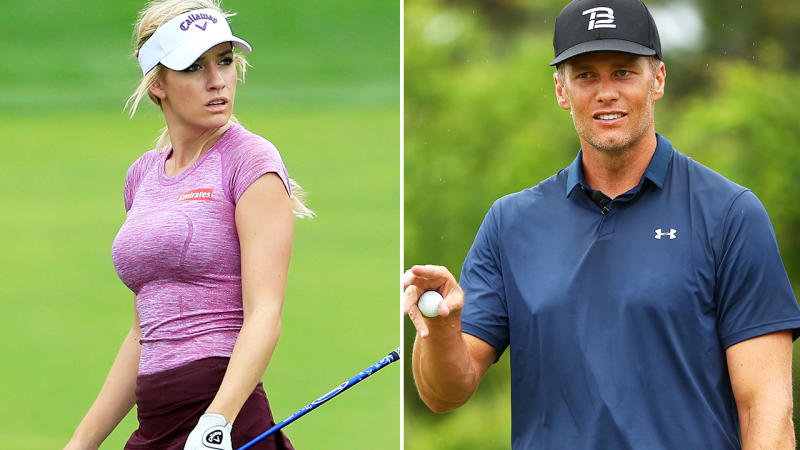 Paige Spiranac and Tom Brady, pictured here on the golf course.