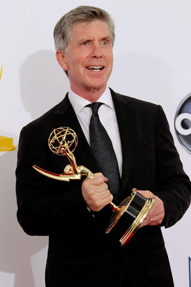Tom Bergeron poses in the press room at the 64th Primetime Emmy Awards at the Nokia Theatre in Los Angeles on September 23, 2012.