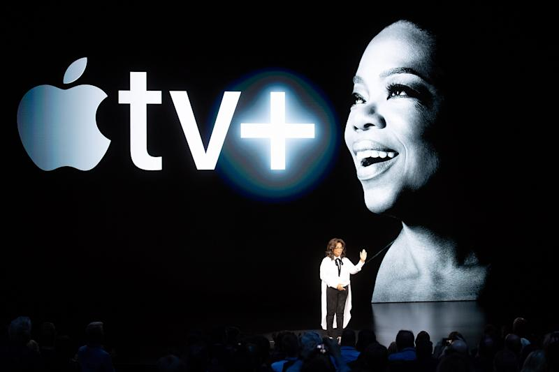 Oprah Winfrey speaks during an event launching Apple tv+ at Apple headquarters on March 25, 2019, in Cupertino, California. (Photo by NOAH BERGER / AFP) (Photo credit should read NOAH BERGER/AFP/Getty Images)
