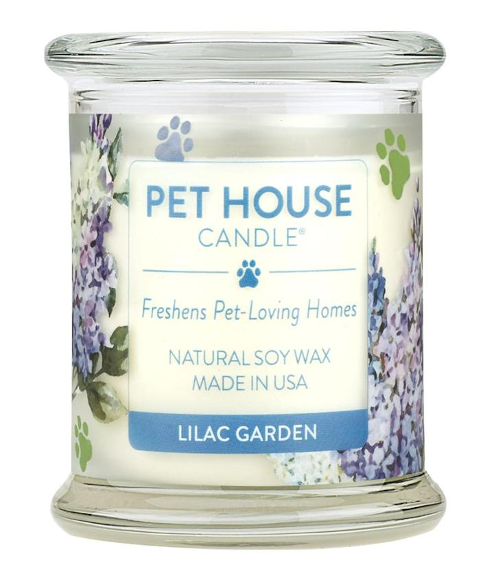 """<p>Pet ownership comes with only a few drawbacks, this odor-busting candle gets rid of one of them. </p> <p><strong>Buy it!</strong> Pet House Lilac Garden Natural Soy Candle, $21.95; <a href=""""https://www.anrdoezrs.net/links/8029122/type/dlg/sid/PEO10CuteMothersDayGiftsforDevotedPetParentskbender1271PetGal12700031202105I/https://www.chewy.com/pet-house-lilac-garden-natural-soy/dp/143239"""" rel=""""sponsored noopener"""" target=""""_blank"""" data-ylk=""""slk:Chewy.com"""" class=""""link rapid-noclick-resp"""">Chewy.com</a></p>"""