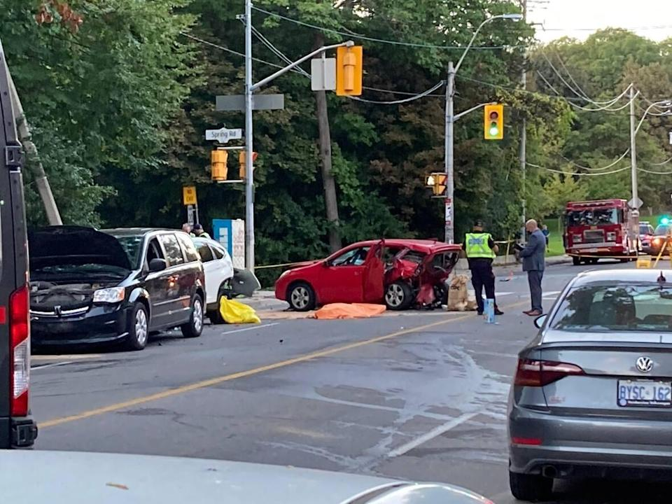 Toronto police are investigating a crash near High Park that left a man and a woman dead and three other people injured late Tuesday afternoon. (Yanjun Li/CBC - image credit)
