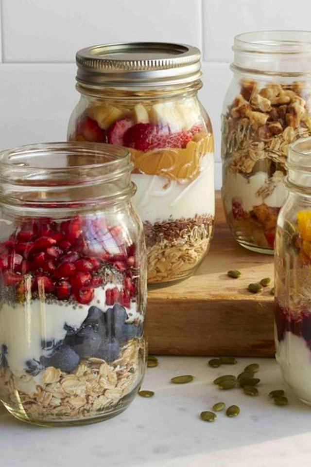 "<p>Prepare this breakfast the night before and you'll wake up with a hearty, filling jar of goodness waiting to greet you.</p><p><strong>Get the recipe at <a rel=""nofollow"" href=""https://www.womansday.com/food-recipes/cooking-tips/a51186/mason-jar-breakfasts/"">Woman's Day</a>.</strong></p>"