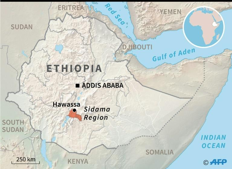Map of Ethiopia locating the Sidama region which voted on Wednesday in a referendum that could carve out a new federal state (AFP Photo/Jochen GEBAUER)