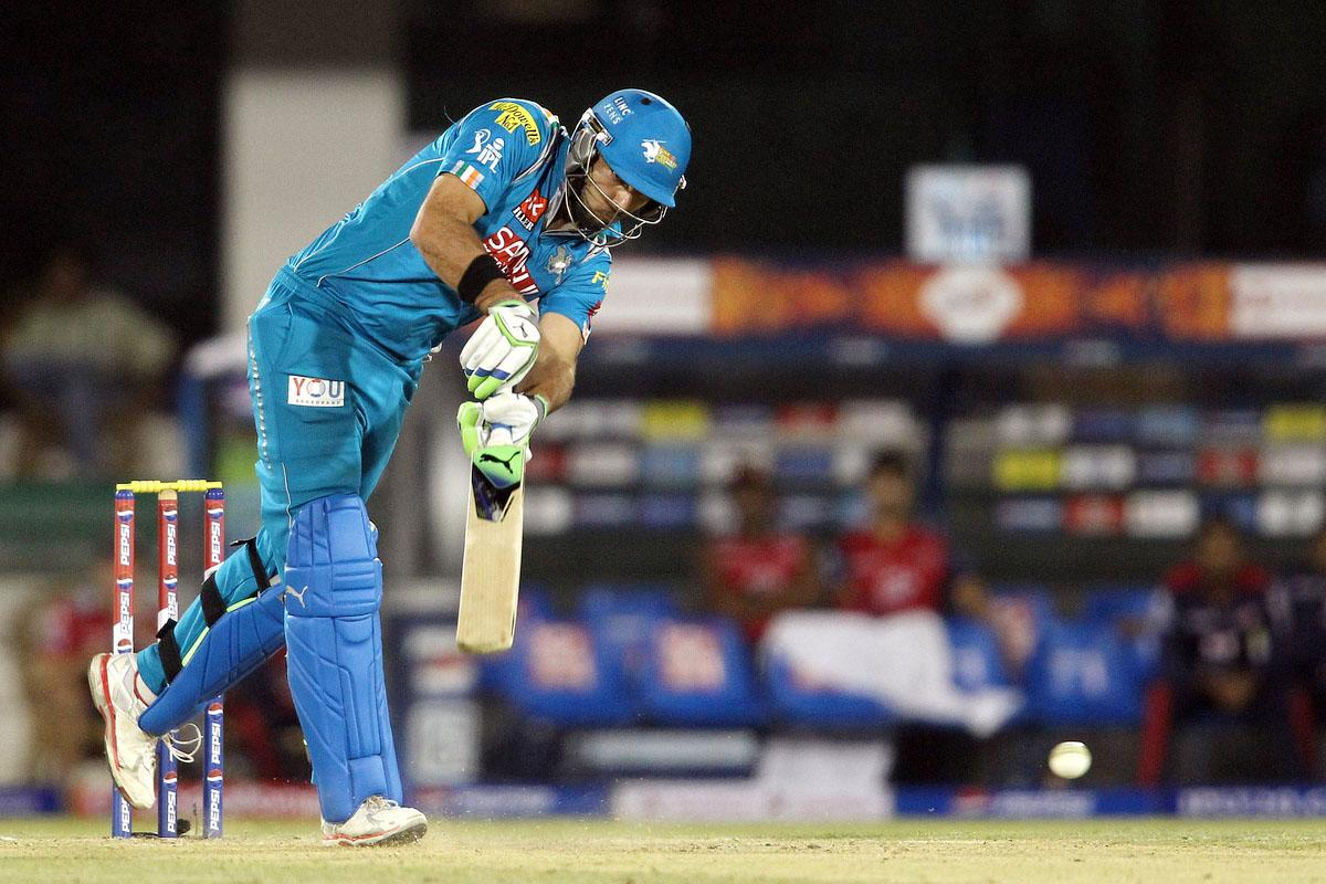 Yuvraj Singh of Pune Warriors India drives a delivery during match 39 of the Pepsi Indian Premier League between The Delhi Daredevils and the Pune Warriors India held at the Chhattisgarh International Cricket Stadium in Raipur on the 28th April 2013. (BCCI)