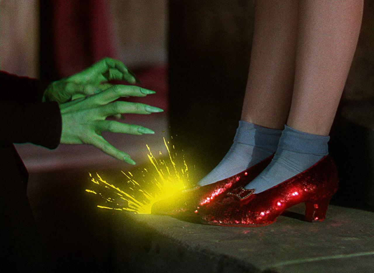 """<p>It was juice. To achieve the desired effect of sparks or fire bursting from Dorothy's coveted rubies when the Wicked Witch gets too close, the crew used a <a href=""""https://www.today.com/popculture/wizard-oz-trivia-quiz-celebrates-films-75th-anniversary-1D80049542"""" target=""""_blank"""">splash of apple</a> juice and sped it up on film. </p>"""