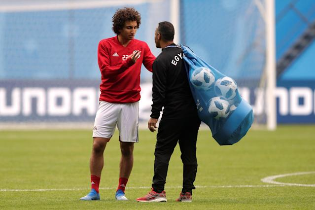 Soccer Football - World Cup - Egypt Training - Saint Petersburg Stadium, Saint Petersburg, Russia - June 18, 2018 Egypt's Amr Warda during training REUTERS/Henry Romero