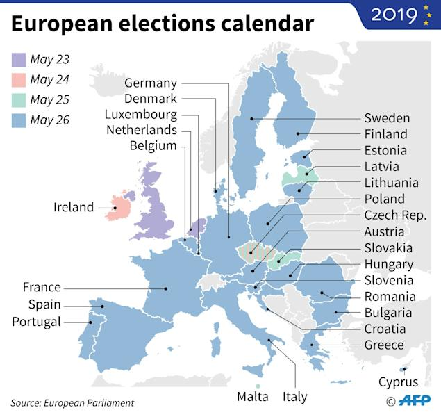 Map of Europe with the dates of the European Parliament elections in May 2019 (AFP Photo/Juliette VILROBE)