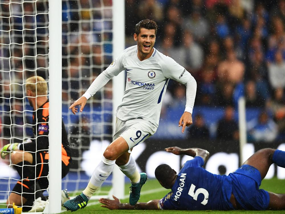 Alvaro Morata scored Chelsea's opening goal in the win over Leicester City: Getty