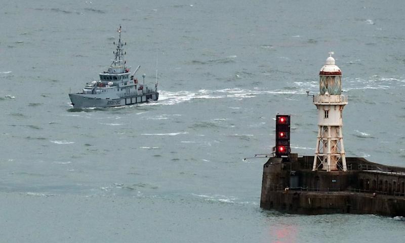A cutter ship patrolling UK waters.