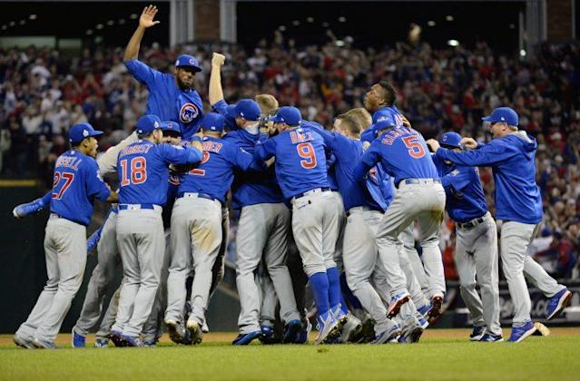 The Cubs celebrate their first World Series title in 108 years. (Getty Images/Ron Vesely)