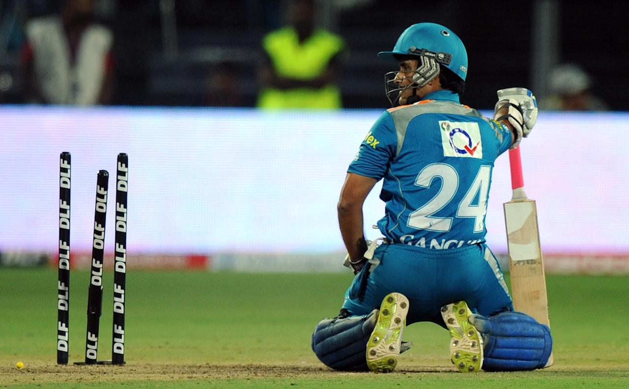 Pune Warriors India captain Sourav Ganguly reacts after being run-out during the IPL Twenty20 cricket match between Pune Warriors India and Chennai Super Kings at The Subrata Roy Sahara Stadium in Pune on April 14, 2012. AFP PHOTO/Indranil MUKHERJEE RESTRICTED TO EDITORIAL USE. MOBILE USE WITHIN NEWS PACKAGE     (Photo credit should read INDRANIL MUKHERJEE/AFP/Getty Images)