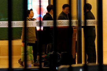 North Korean Ambassador to Malaysia Kang Chol (2nd R) arrives at the VIP exit of the Beijing Capital International Airport in Beijing, China March 7, 2017. REUTERS/Tyrone Siu