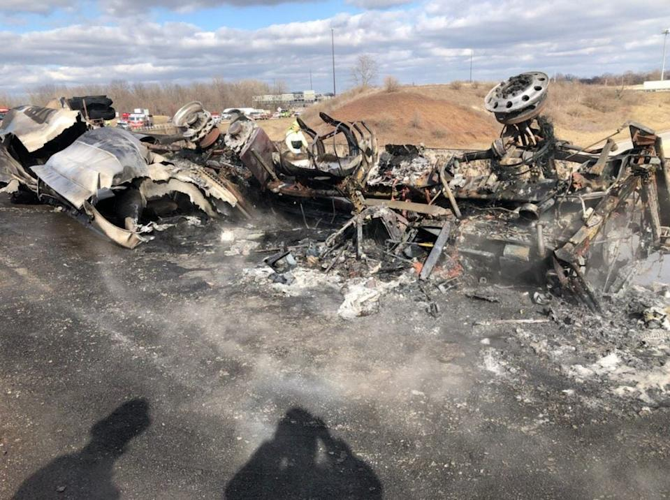 A photo from the Indiana Department of Transportation shows wreckage after a fuel tanker overturned and caught fire at the intersection of interstates 70 and 465 on Indianapolis' east side on Thursday, Feb. 20, 2020.