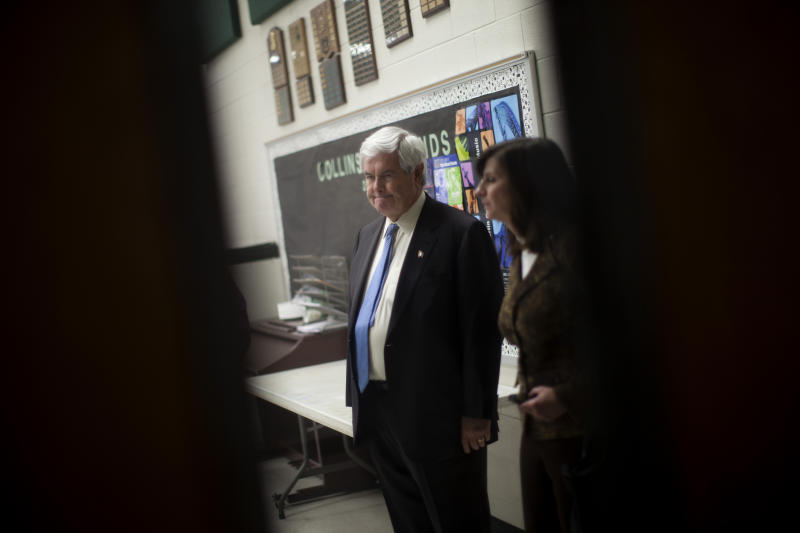 Republican presidential candidate, former House Speaker Newt Gingrich, waits in a holding room before speaking at a campaign stop Saturday, Feb. 18, 2012, in Suwanee, Ga.  (AP Photo/Evan Vucci)