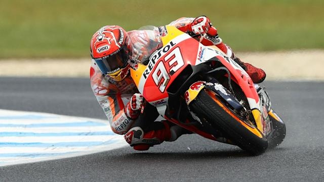 Champion-elect Marc Marquez claimed pole position in Valencia as the MotoGP title race swung towards the Spaniard.