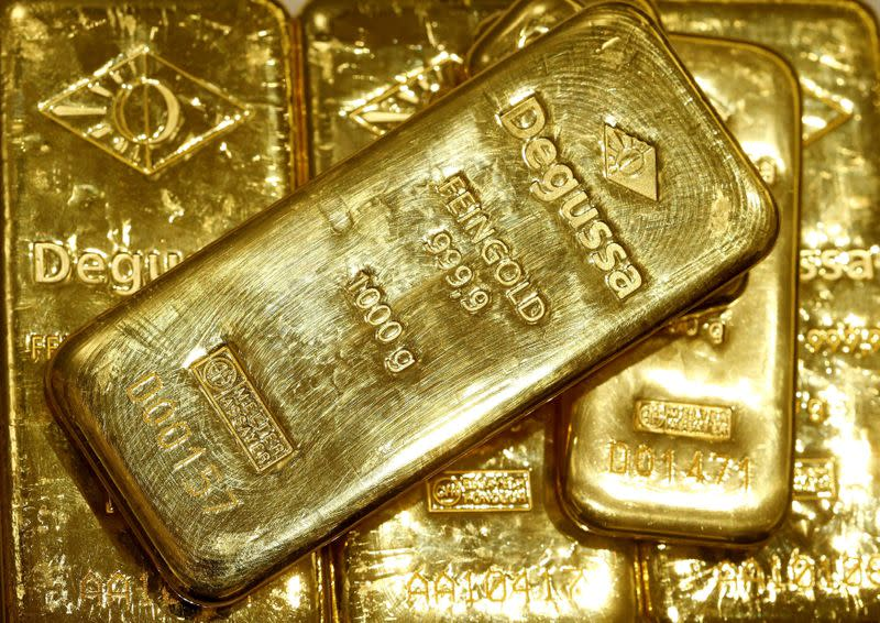 FILE PHOTO: Gold bars are seen in the vault of the branch office of precious metal trader Degussa in Zurich