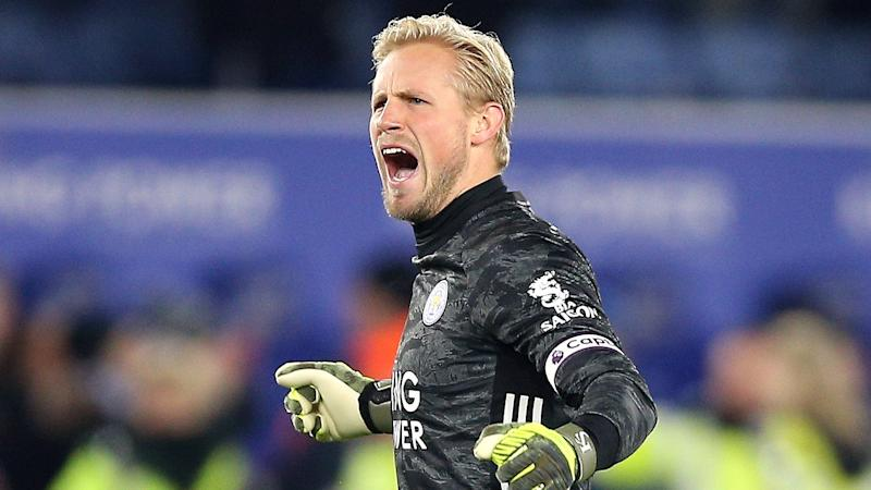 Kasper Schmeichel heroics lead Leicester past Everton on penalties