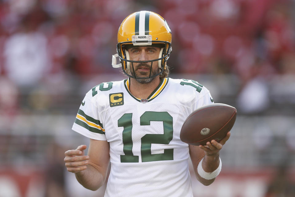 Green Bay Packers quarterback Aaron Rodgers (12) looks on during the pre-game warm up before the game against the San Francisco 49ers during an NFL football game, Sunday, Sep. 26, 2021 in Santa Clara, Calif. (AP Photo/Lachlan Cunningham)