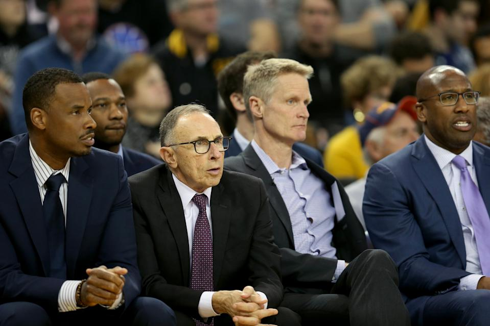 OAKLAND, CALIFORNIA - MARCH 5: Golden State Warriors head coach Steve Kerr, third form left, and his coaching staff, from left is Jarron Collins, Ron Adams and Mike Brown watch the game against the Boston Celtics during the second quarter of a NBA game at Oracle Arena in Oakland, Calif., on Tuesday, March 5, 2019. (Photo by Ray Chavez/MediaNews Group/The Mercury News via Getty Images)