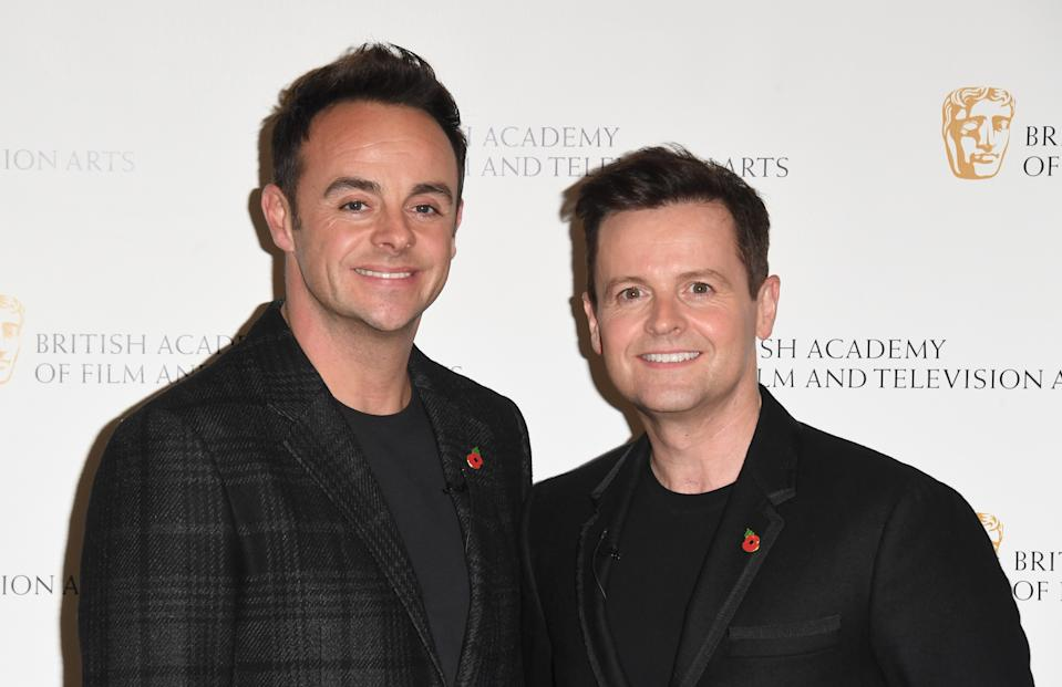 """LONDON, ENGLAND - NOVEMBER 05: Anthony McPartlin and Declan Donnelly attend """"Ant and Dec's DNA Journey"""" BAFTA TV Preview at Barbican Centre on November 05, 2019 in London, England. (Photo by Stuart C. Wilson/Getty Images)"""