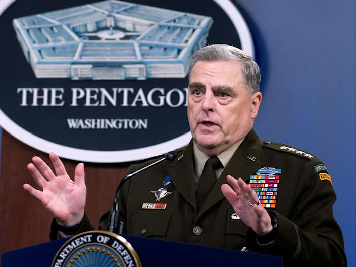 In this July 21, 2021 file photo, Joint Chiefs Chairman Gen. Mark Milley speaks at a press briefing at the Pentagon in Washington (AP)