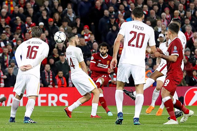 "Soccer Football – Champions League Semi Final First Leg – Liverpool vs AS <a class=""link rapid-noclick-resp"" href=""/soccer/teams/roma/"" data-ylk=""slk:Roma"">Roma</a> – Anfield, Liverpool, Britain – April 24, 2018 Liverpool's Mohamed Salah scores their first goal Action Images via Reuters/Carl Recine"