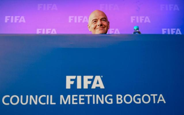 'Really happy': FIFA President Gianni Infantino attends a press conference in Bogota after the FIFA Council gave the green light to VAR technology at the World Cup (AFP Photo/Luis ACOSTA)