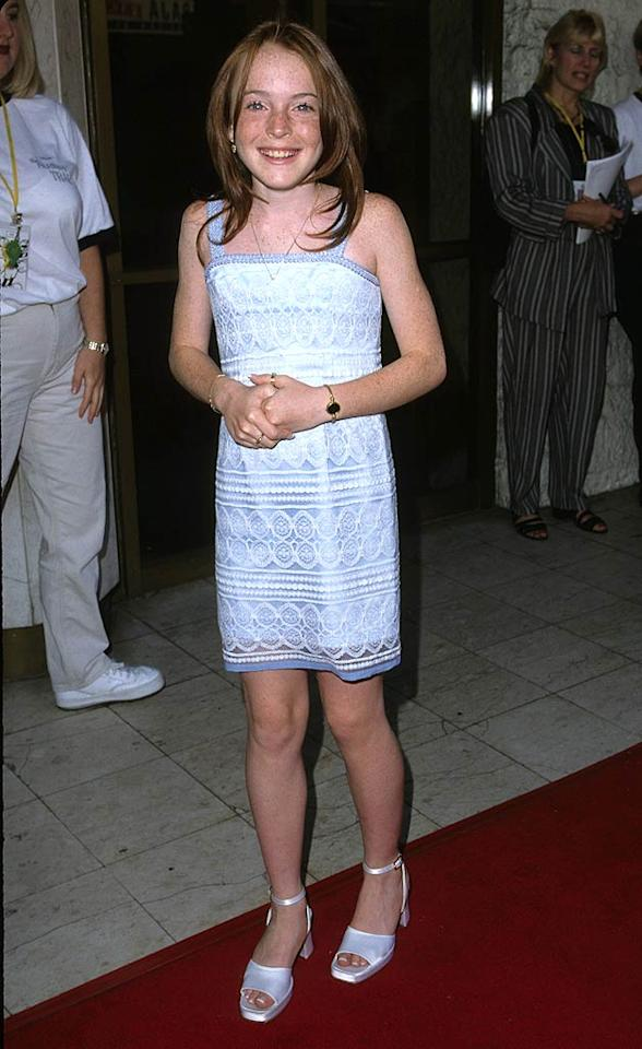 "Once upon a time, back in 1998, a sweetly innocent 12-year-old Lindsay was all smiles at the premiere of her first film, ""The Parent Trap,"" in Westwood, California. S. Granitz/Jason Nevader/<a href=""http://www.wireimage.com"" target=""new"">WireImage.com</a> - July 2, 1998"