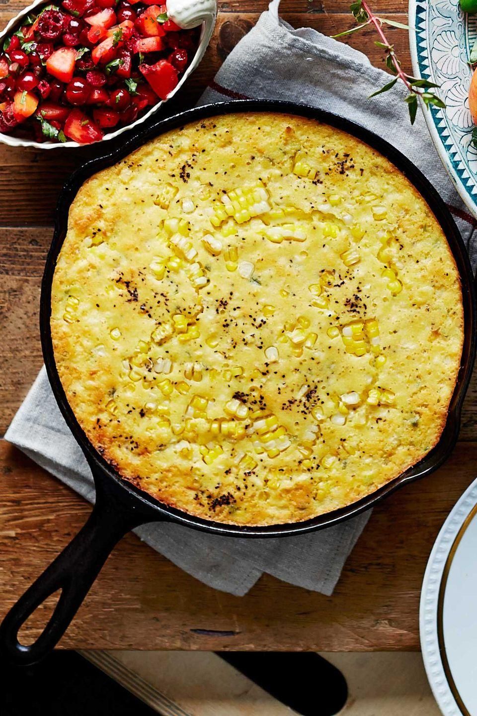 "<p>Spoonbread is a super-quick alternative to cornbread dressing—and it's easy enough for weeknights. Look for hatch chiles, prevalent in the Southwest, for a robust pepper flavor. Stir in 1 cup grated Cheddar for a richer cheesy dish.</p><p><strong><a href=""https://www.countryliving.com/recipefinder/jalapeno-green-chile-spoonbread-recipe-clx1114?click=recipe_sr"" rel=""nofollow noopener"" target=""_blank"" data-ylk=""slk:Get the recipe"" class=""link rapid-noclick-resp"">Get the recipe</a>.</strong></p>"