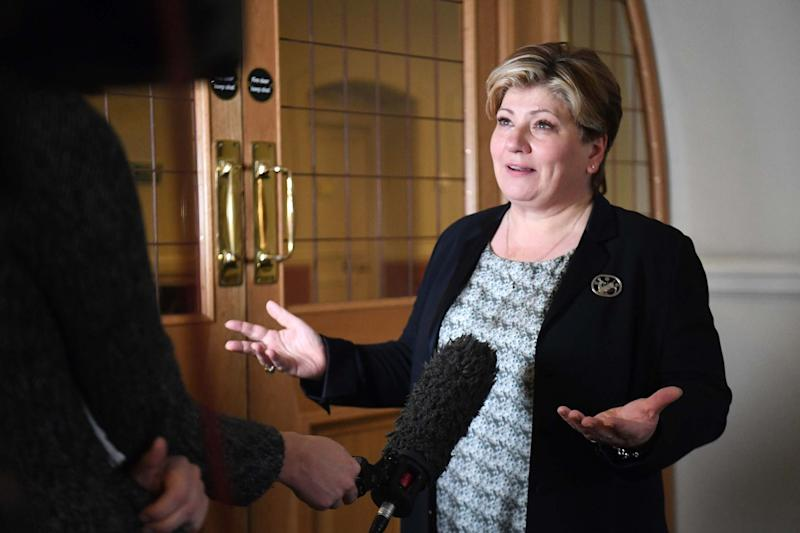 Shadow foreign secretary Emily Thornberry speaking to the media after meeting with Harry Dunn's family at Portcullis House in London: PA