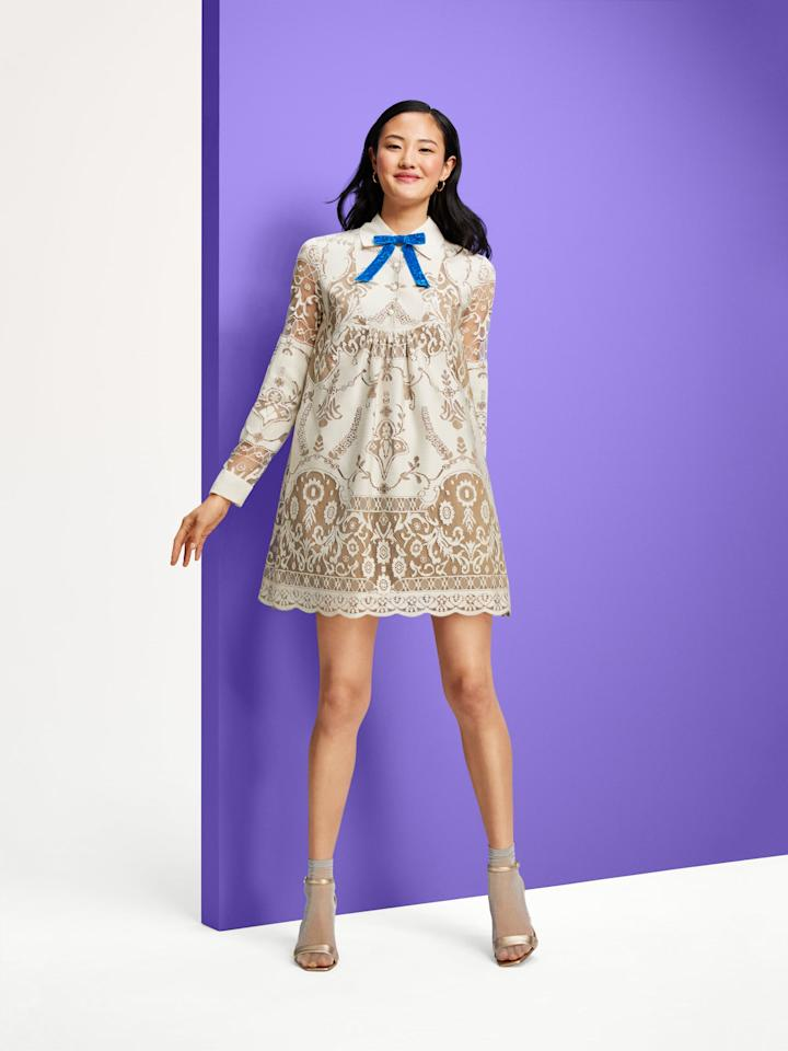 <p>Anna Sui for Target Women's Lace Long Sleeve Ribbon Detail Shift Mini Dress in Ivory, $60</p>