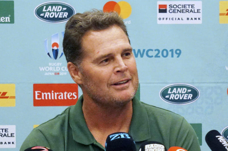 FILE - In this Sept. 18, 2019, file photo, South Africa's coach Rassie Erasmus speaks during a press conference in Urayasu, near Tokyo, ahead of the Rugby World Cup in Japan. The Springboks' game against Namibia at the Rugby World Cup is the South African sequel to the Miracle of Brighton. They want this one to be a completely different story.(Kyodo News via AP, File)/Kyodo News via AP)