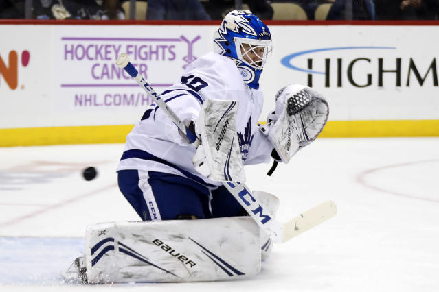 A shot by Pittsburgh Penguins' Jared McCann gets past Toronto Maple Leafs goaltender Kasimir Kaskisuo (50) for a goal during the second period of an NHL hockey game in Pittsburgh, Saturday, Nov. 16, 2019. (AP Photo/Gene J. Puskar)