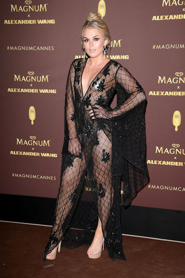<p>Tallia Storm in a sheer, netted black dres</p>