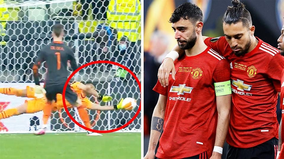 Manchester United players (pictured right) upset after David De Gea's (pictured left) missed penalty handed Villarreal the Europa League Final.