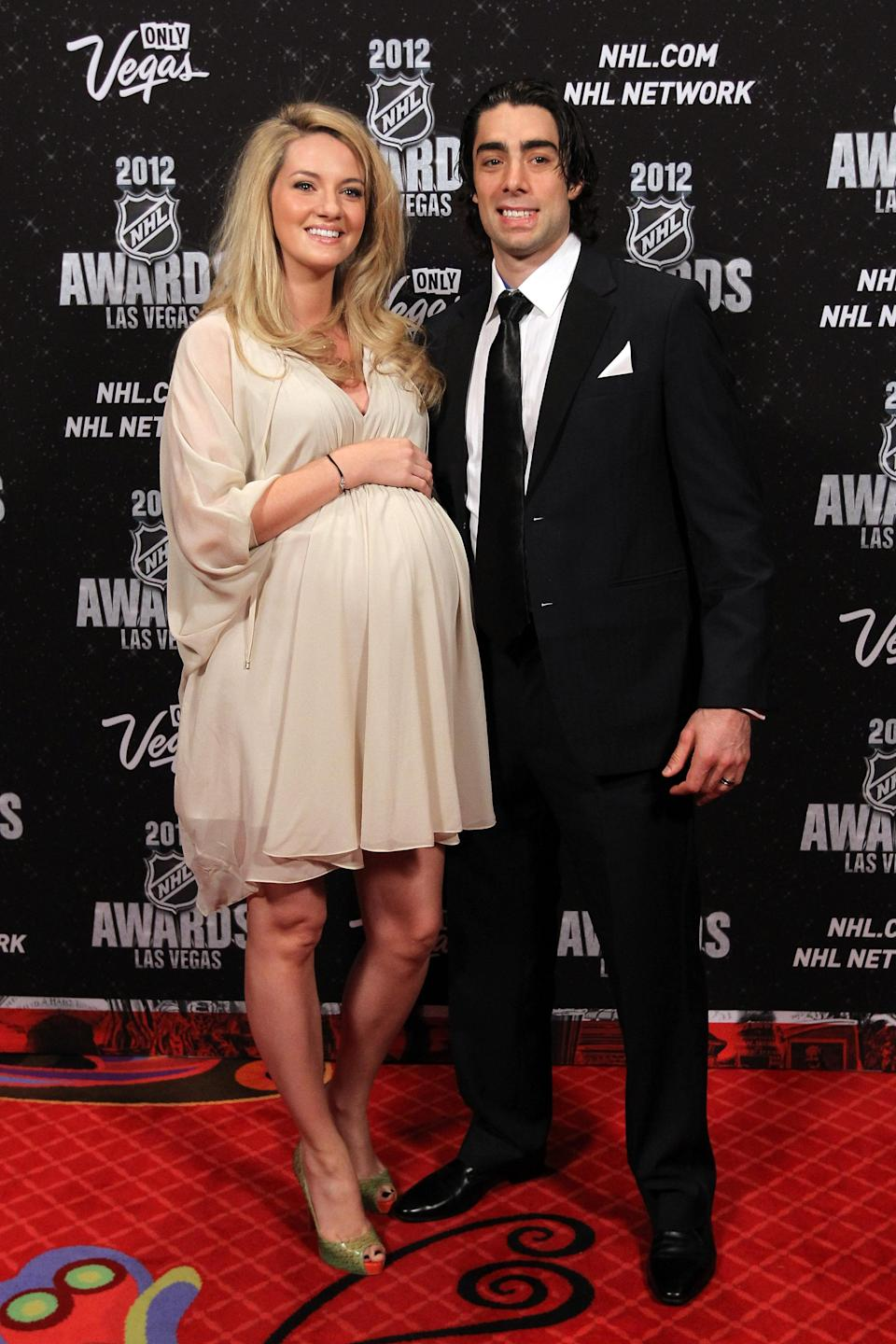 LAS VEGAS, NV - JUNE 20: Matt Moulson of the New York Islanders arrives with wife Alicia Blackman before the 2012 NHL Awards at the Encore Theater at the Wynn Las Vegas on June 20, 2012 in Las Vegas, Nevada. (Photo by Bruce Bennett/Getty Images)