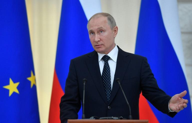 """The star of the semi-scripted show """"Tonight with Vladimir Putin"""" will be a 3D digital cartoon of the Russian president (pictured May 15, 2019), created using performance capture technology"""