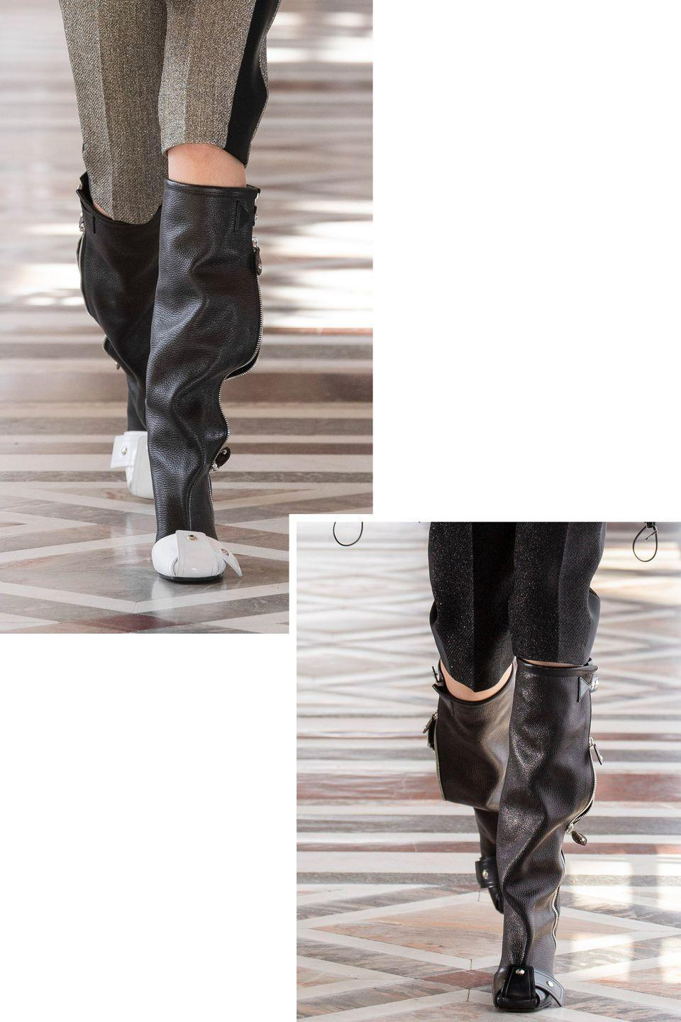 <p>A tailored Bermuda short worn with a below the knee slouchy boot is so cool on many levels—and is an ideal in to transitional dressing and proportion play. </p><p><em>Pictured: Louis Vuitton</em></p>