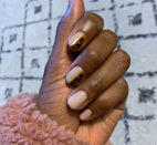 "Give one of <a href=""https://www.glamour.com/story/tortoiseshell-nails-nail-art?mbid=synd_yahoo_rss"" rel=""nofollow noopener"" target=""_blank"" data-ylk=""slk:fall's biggest trends"" class=""link rapid-noclick-resp"">fall's biggest trends</a> a fresh twist by painting only half of a few nails in tortoiseshell. Less surface area also makes it easier to attempt at home."