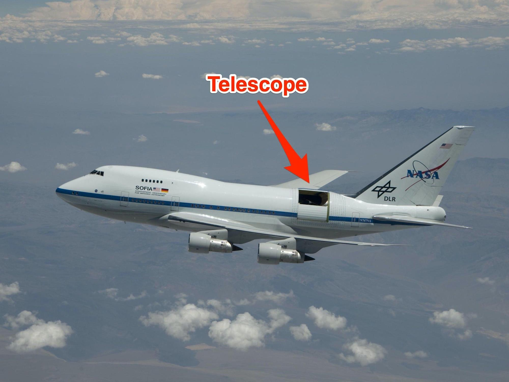 NASA used a Boeing 747 rigged with a massive telescope to discover water on the moon — take a look at SOFIA