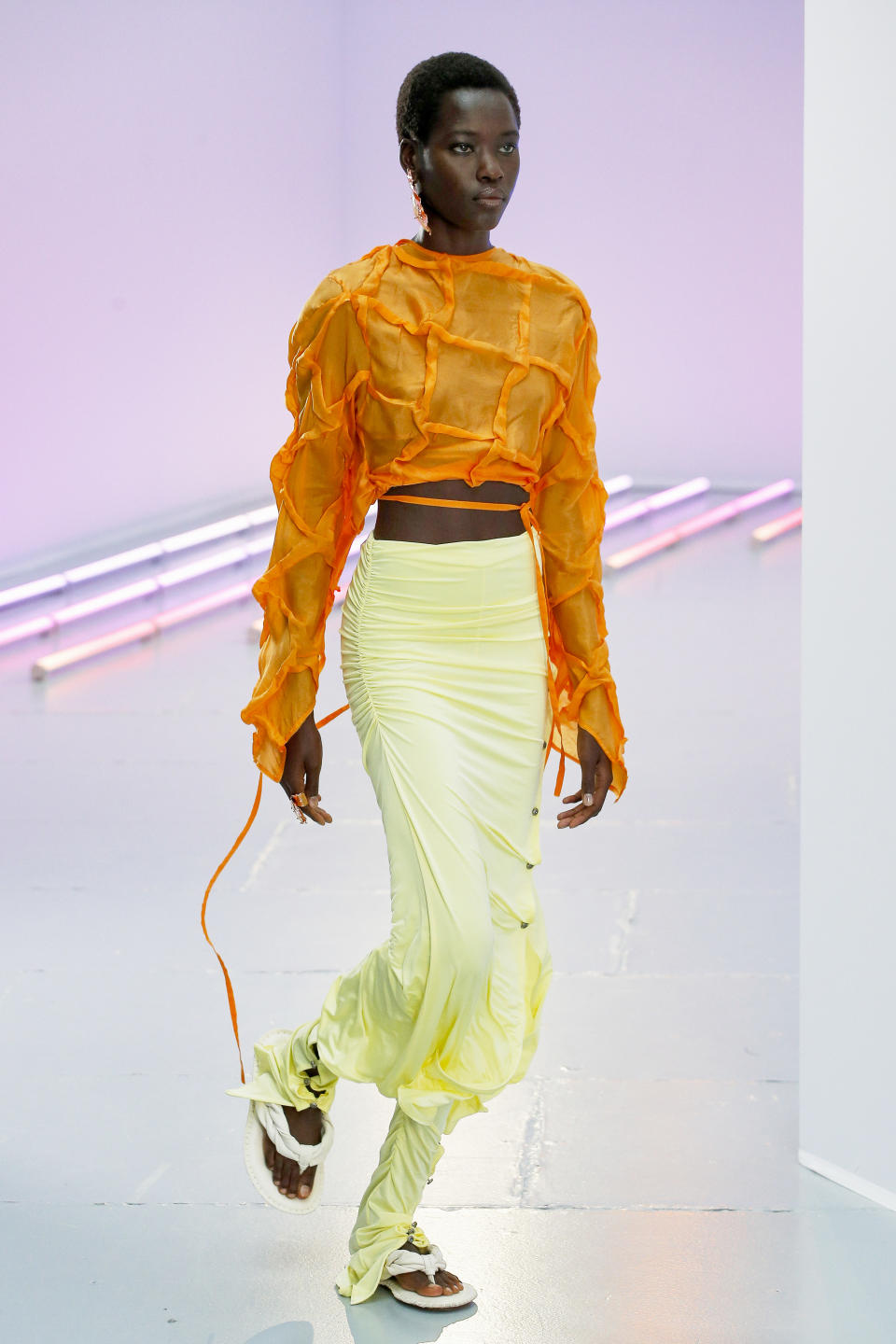 PARIS, FRANCE - SEPTEMBER 30: A model walks the runway during the Acne Studios Ready to Wear  Spring/Summer 2021 fashion show as part of Paris Fashion Week on September 30, 2020 in Paris, France. (Photo by Victor VIRGILE/Gamma-Rapho via Getty Images)
