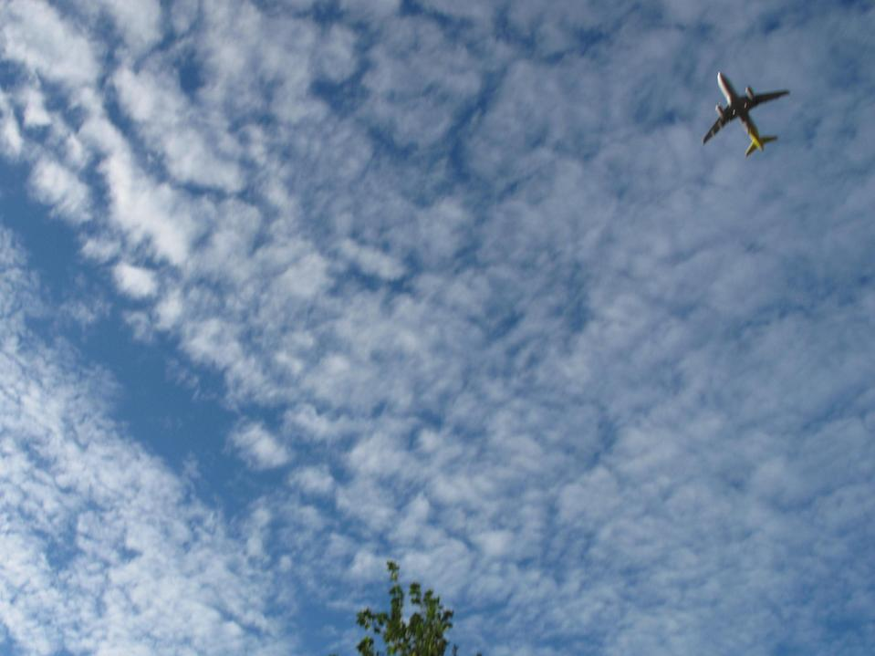 Rare sight: an aircraft taking off from Stansted airport (Simon Calder)